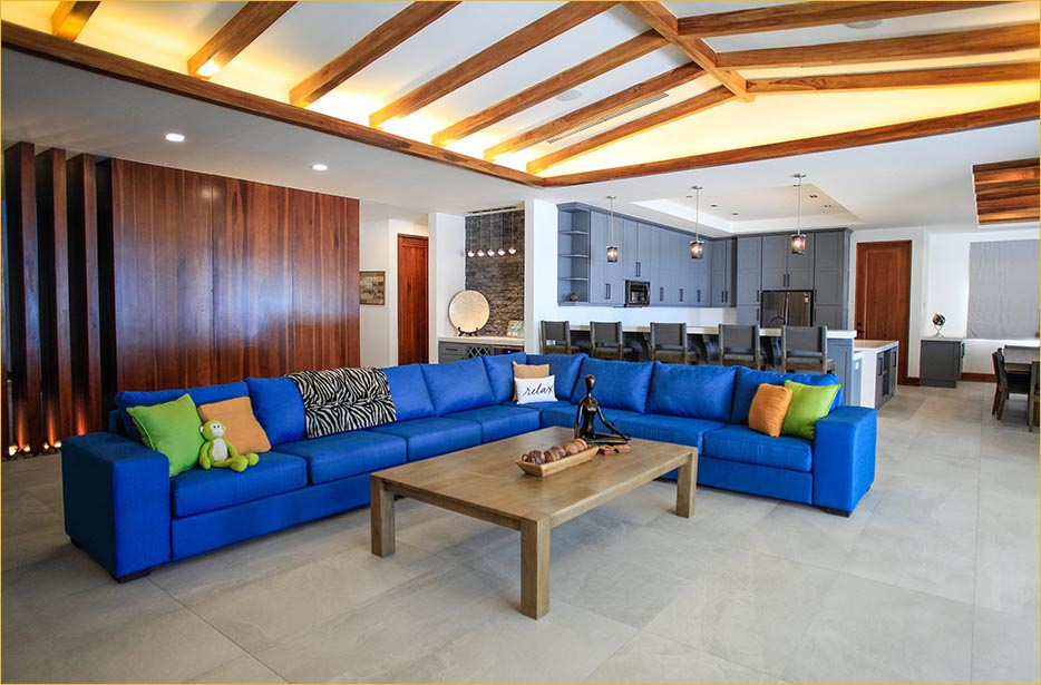 A large and comfortable sectional sofa facing the Pacific Ocean and the best waves in Costa Rica.