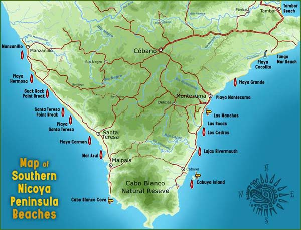 Map of Southern Nicoya Peninsula Costa Rica Beaches