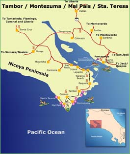 Nicoya Peninsula Map of Costa Rica